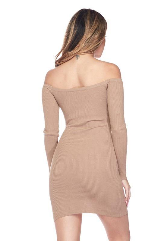 Brianna Slit Side Milk Coffee Midi Dress