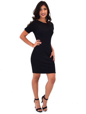 Short sleeve dress with sleeve pearl detail - Dimesi Boutique