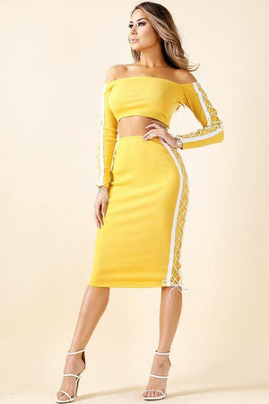 Olivia, Set with crop top and pencil skirt with side tie up - Dimesi Boutique