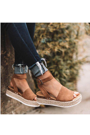 Sensational wide band espadrille platform Tan Sandals - Dimesi Boutique