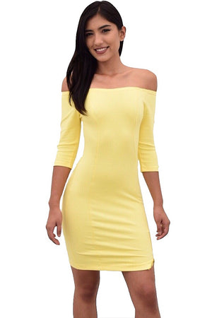 Off shoulder dress with slit side zipper - Dimesi Boutique
