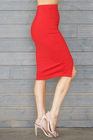 Laura, red slit skirt