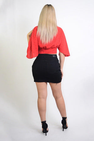 Celia, Flared sleeves Red Cropped Blouse