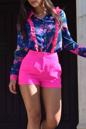 Mandy hot pink dressy shorts - Dimesi Boutique