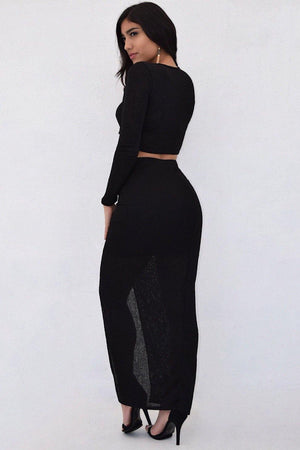 Kim, Black knitted set with cross front top and slit on long skirt