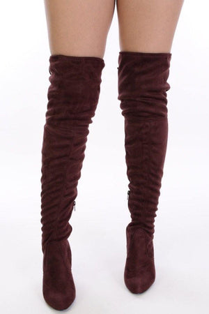 Thigh High Suede Red brown Boots - Dimesi Boutique