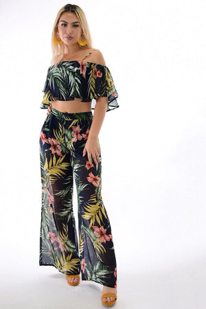 Eva, tropical print flounces dark navy 2-piece set