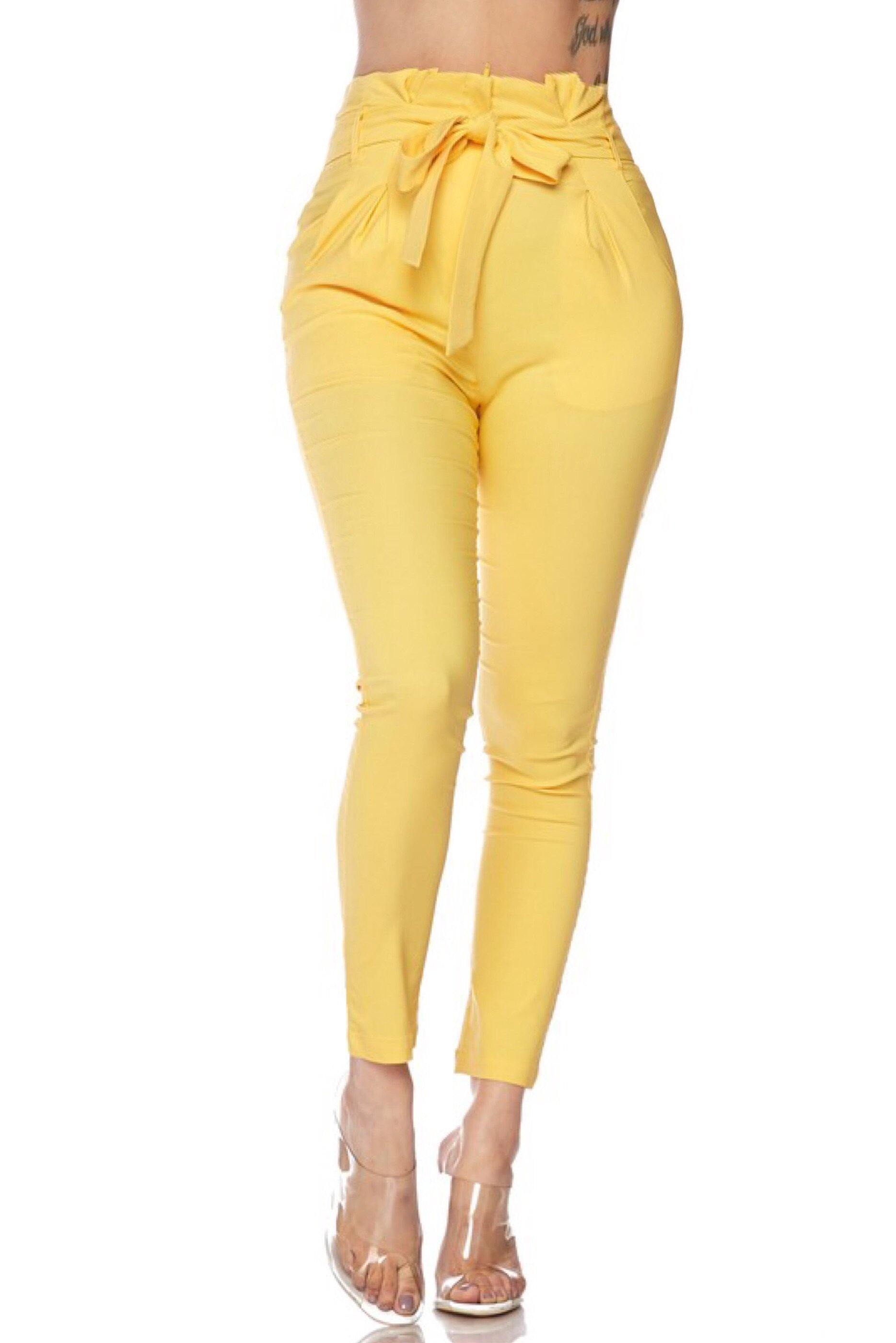 Besties forever High Rise Yellow Pants