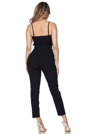 Spaghetti strap black Jumpsuit, that it will fit perfectly in your body - Dimesi Boutique