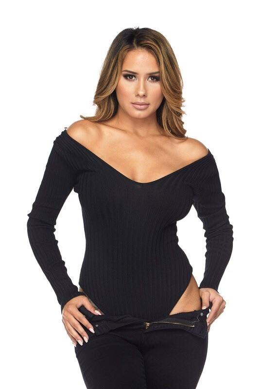 Fernanda Long Sleeve V-Neck Black Bodysuit