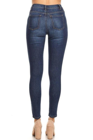 Kelly, high-waist washed dark blue skinny jeans - Dimesi Boutique