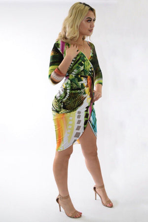 Multicolor green dress with crossed below - Dimesi Boutique