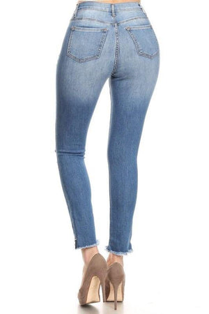 Karla high-waist medium blue distressed skinny jeans - Dimesi Boutique