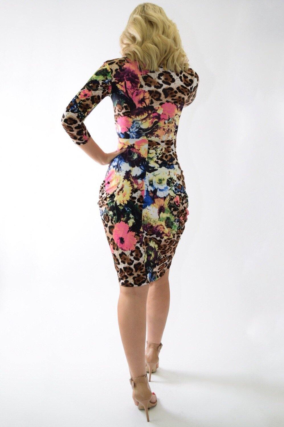 Shana wild leopard dress with floral print