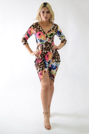 Shana wild leopard dress with floral print - Dimesi Boutique