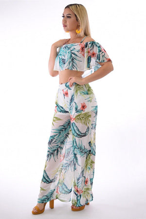 Eva, tropical print flounces off white 2-piece set