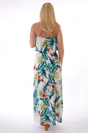 Samba, tropical print off white dress with slit on sides - Dimesi Boutique