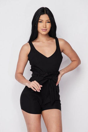 Sleeveless black romper with adjustable strap, that it will fit perfectly in your body - Dimesi Boutique