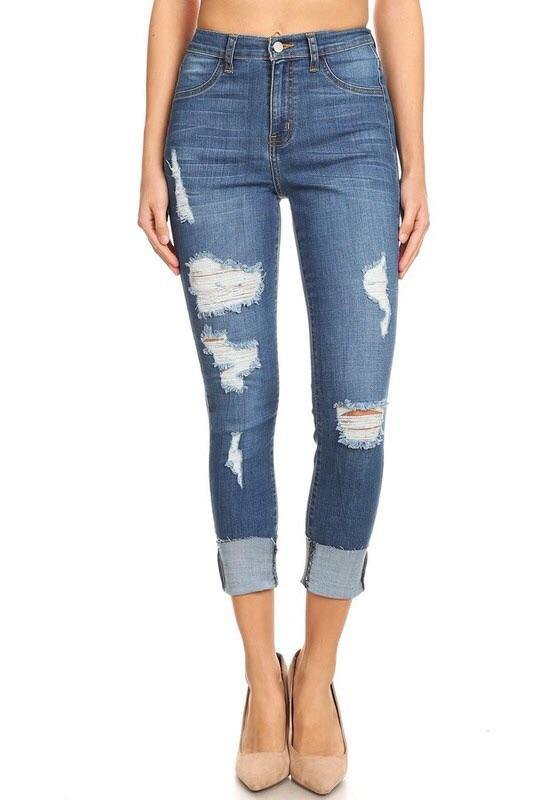 Angela high rise destroyed raw cuff skinny blue jeans