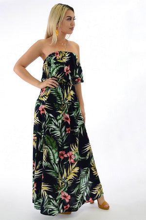 Samba, tropical print Navy dress with slit on sides - Dimesi Boutique