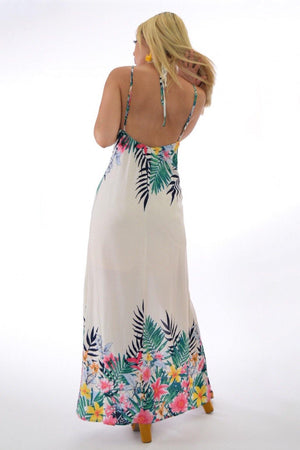 Maya, Tropical print halter cream maxi dress with slit legs - Dimesi Boutique