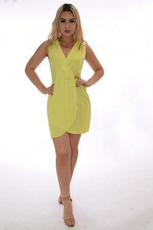 Miriam pop color yellow-green summer dress - Dimesi Boutique