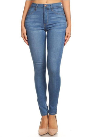 Erika high-waist medium blue skinny jeans - Dimesi Boutique