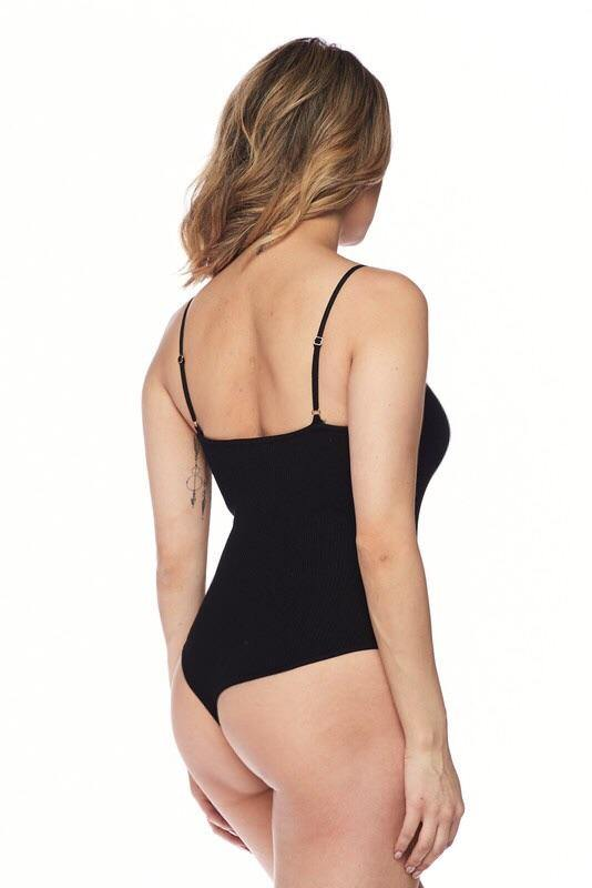 Adjustable spaghetti Strap black bodysuit