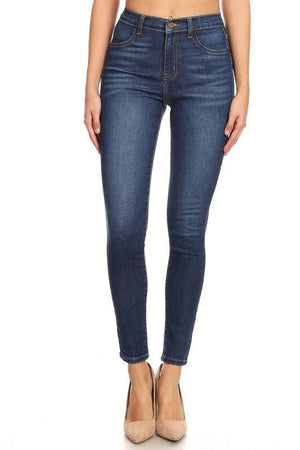 Kelly high-waist washed dark blue skinny jeans