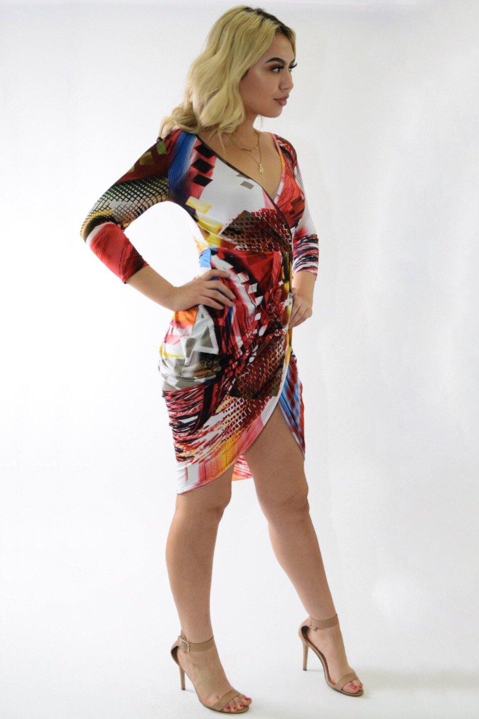 Multicolor red dress with crossed below