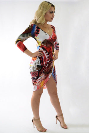 Multicolor red dress with crossed below - Dimesi Boutique