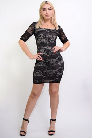 Hanna black lace bodycon dress - Dimesi Boutique