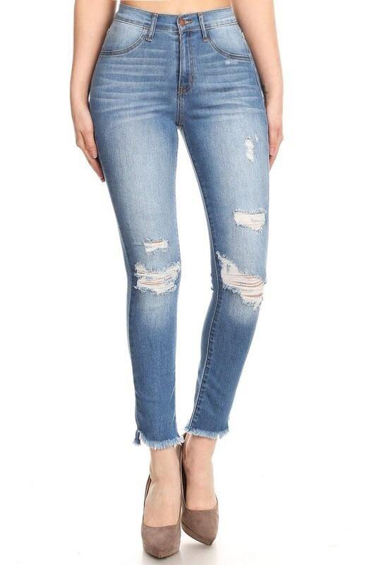 Karla high-waist medium blue distressed skinny jeans
