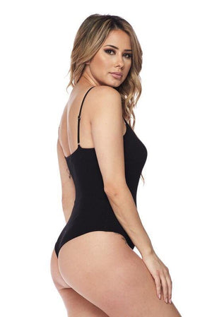 Adjustable spaghetti Strap black bodysuit - Dimesi Boutique