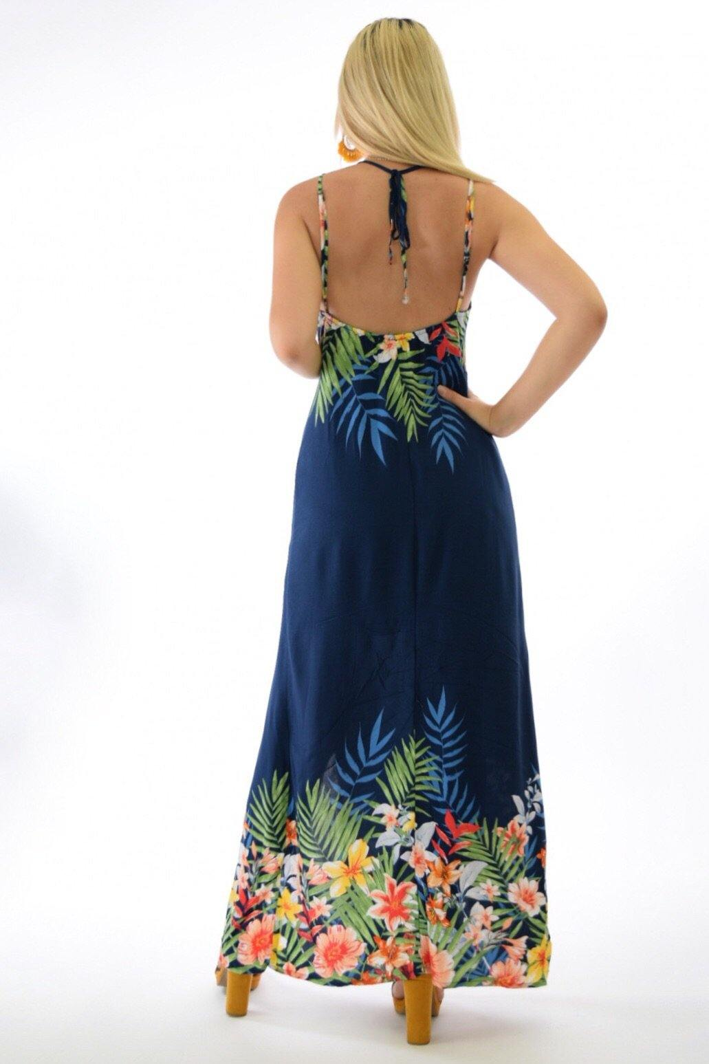 Maya Tropical print halter navy dress with slit legs