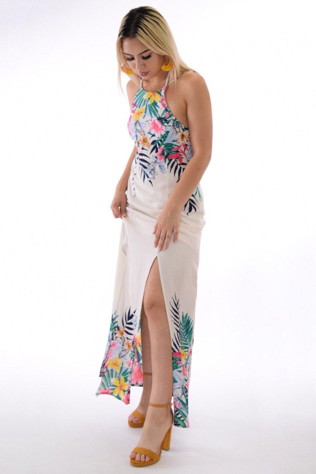 Maya Tropical print halter cream dress with slit legs