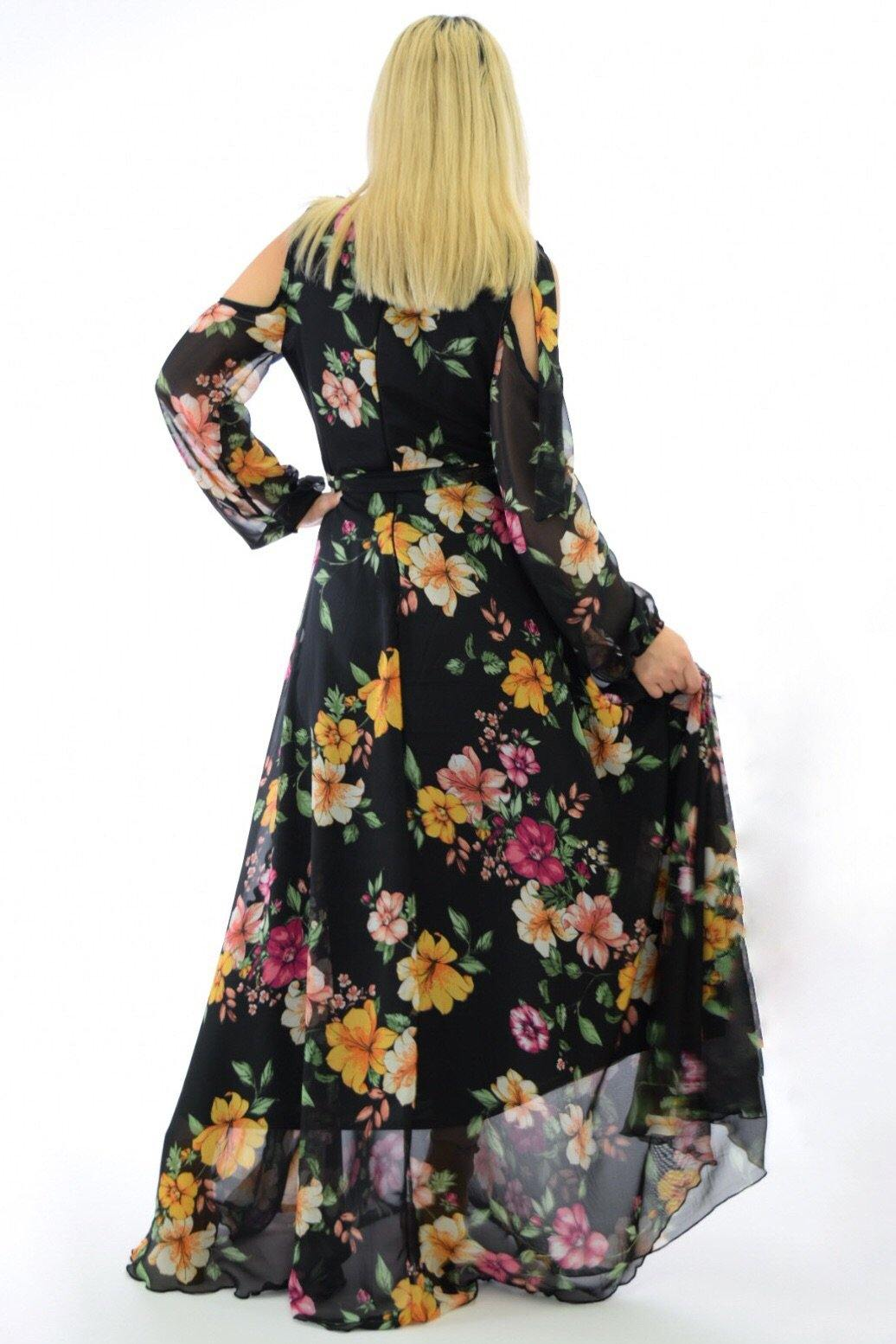Angela black Flowy Maxi Dress