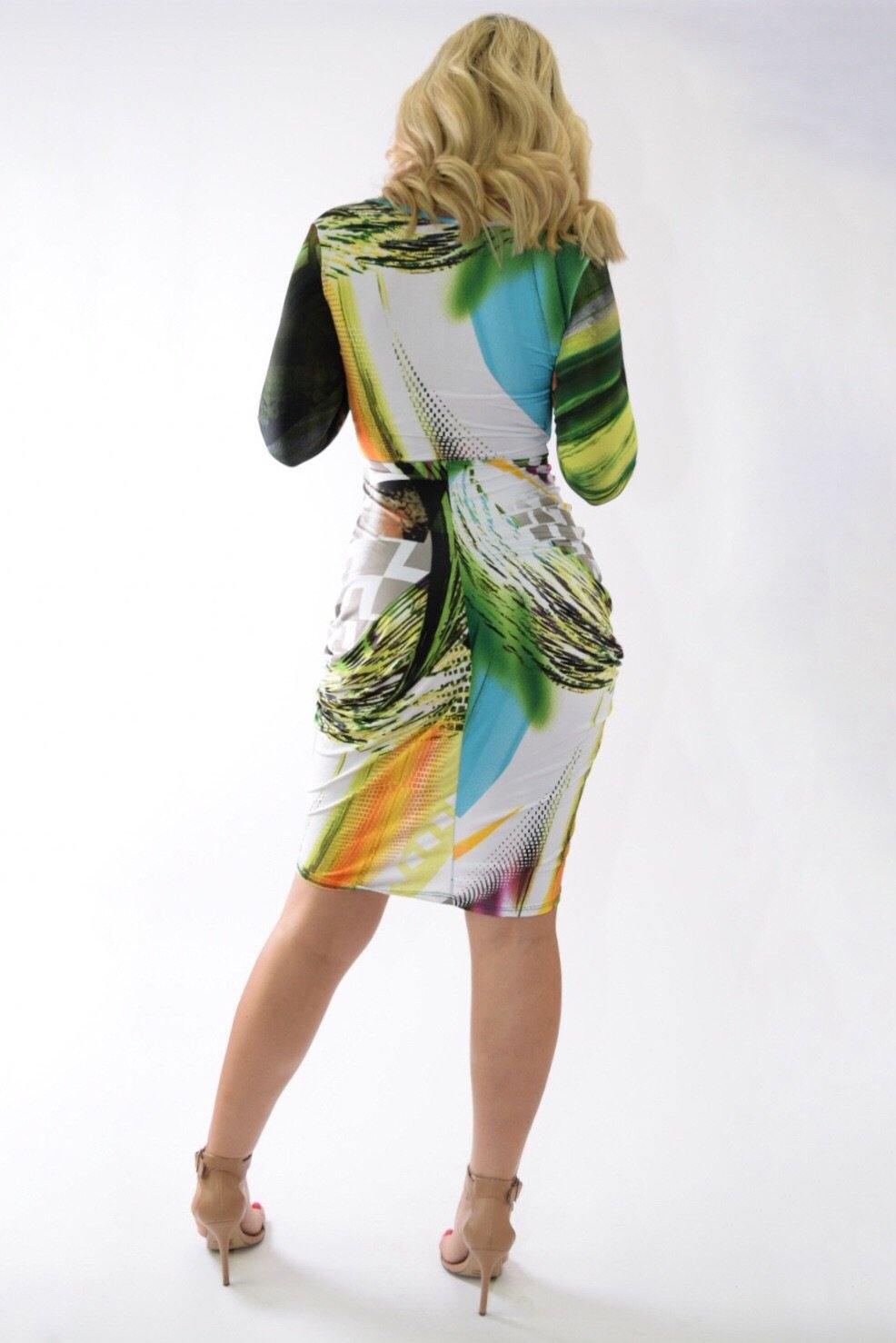 Multicolor green dress with crossed below