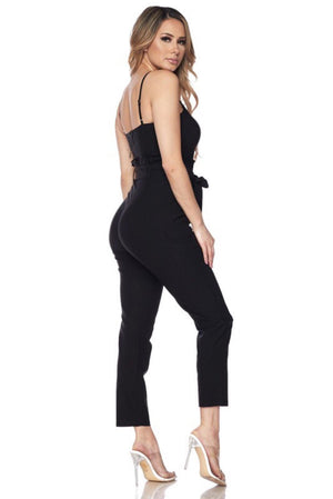 Spaghetti strap red Jumpsuit, that it will fit perfectly in your body - Dimesi Boutique