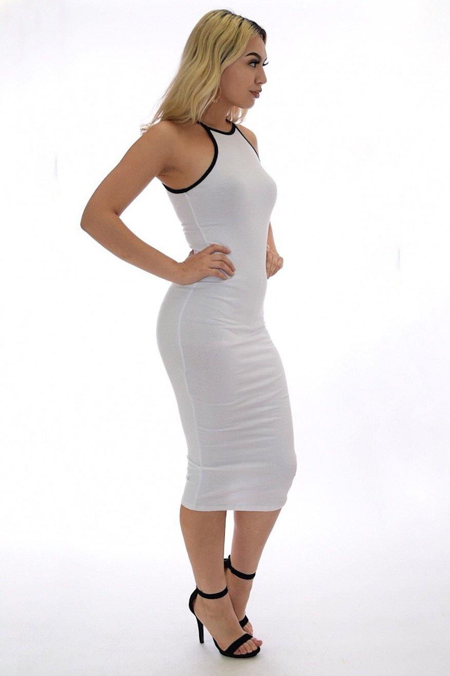 Alondra white casual midi dress