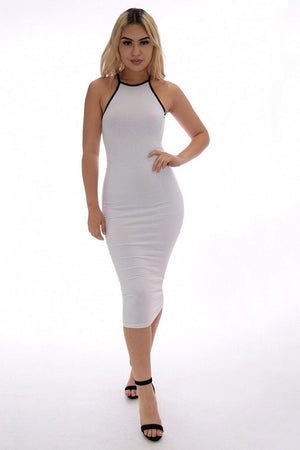 White casual midi dress - Dimesi Boutique