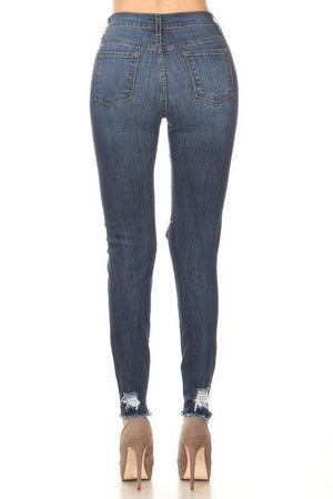 Jessica wash destroy fray hem ankle high-waist denim jeans - Dimesi Boutique