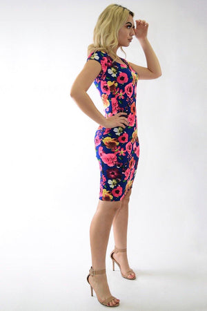 Sofia Blue floral print dress - Dimesi Boutique