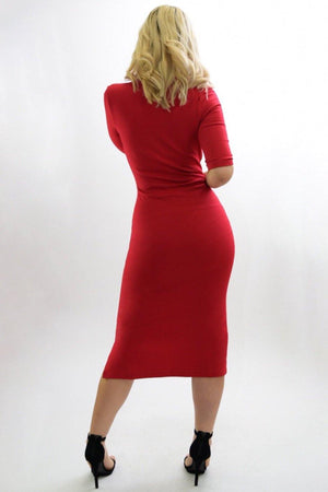 Martha red midi dress - Dimesi Boutique