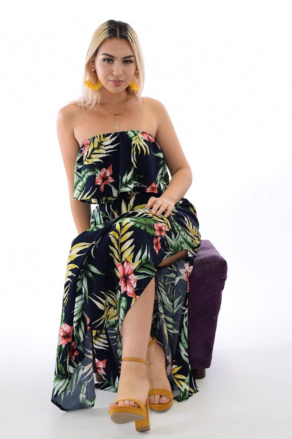 Samba tropical print Navy dress with slit on sides