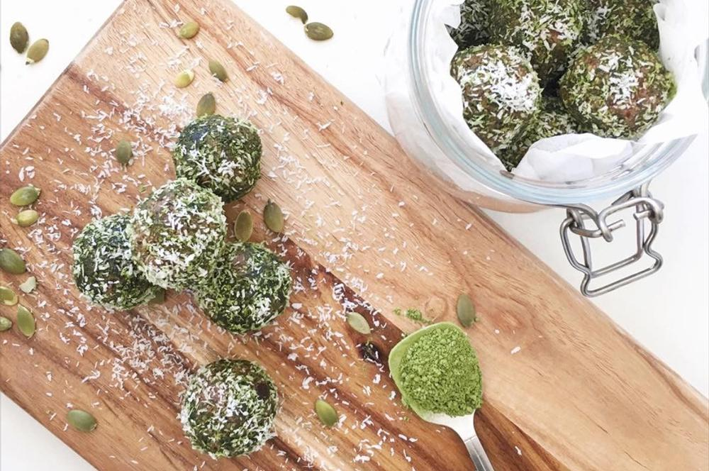 Coco-Nutty Bliss Balls With Matcha Dust