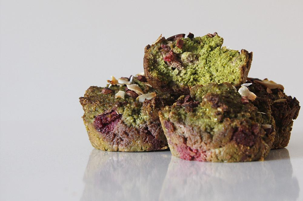 Yum! Banana, Coconut & Raspberry Matcha Muffins Recipe
