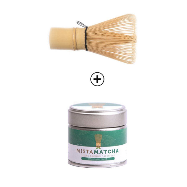 30g premium matcha powder tin and bamboo whisk