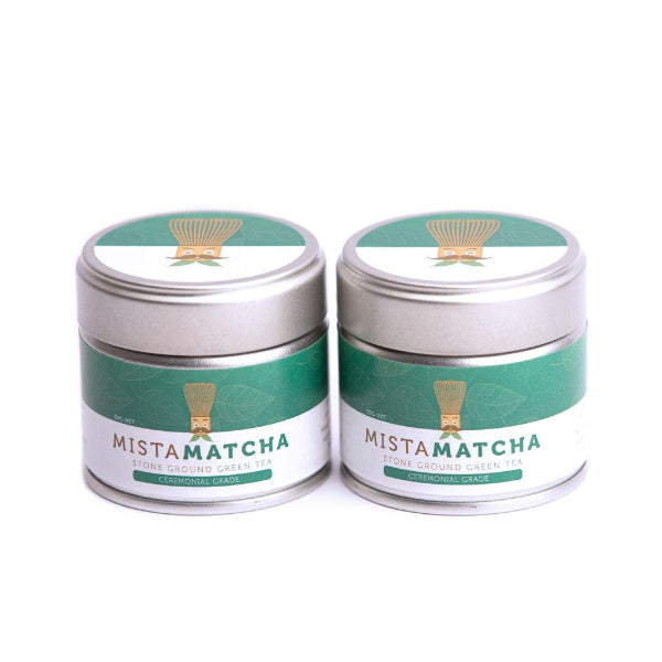 Two 30g premium matcha powder tins