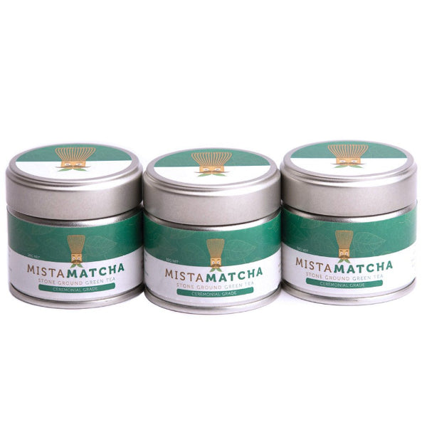 Three 30g premium matcha powder tins